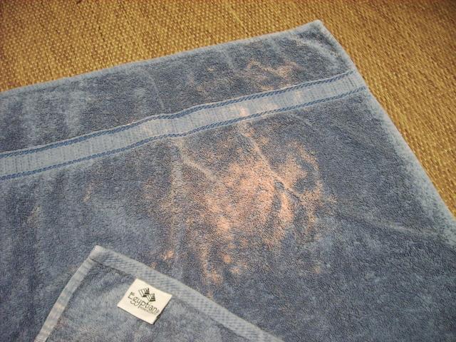 Bleach spots on towels